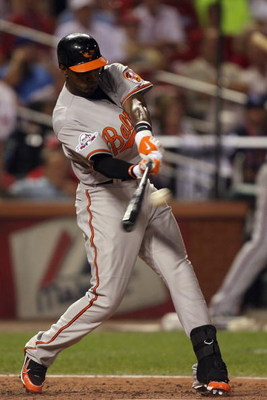 ST. LOUIS, MO - JULY 14:  American League All-Star Adam Jones of the Baltimore Orioles bats during the 2009 MLB All-Star Game at Busch Stadium on July 14, 2009 in St Louis, Missouri. (Photo by Dilip Vishwanat/Getty Images)