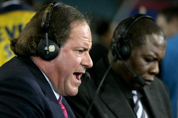 JACKSONVILLE, FL - FEBRUARY 6:  ESPN commentators Chris Berman and Tom Jackson speak after the New England Patriots defeated the Philadelphia Eagles in Super Bowl XXXIX at Alltel Stadium on February 6, 2005 in Jacksonville, Florida.  The Patriots defeated