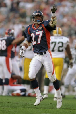 25 Jan 1998:  Steve Atwater #27 of the Denver Broncos celebrates against the Green Packers during Super Bowl  XXXII at Qualcomm Stadium in San Diego, California.  The Denver Broncos defeated the Green Bay Packers 31-24. Mandatory Credit: Andy Lyons  /Alls
