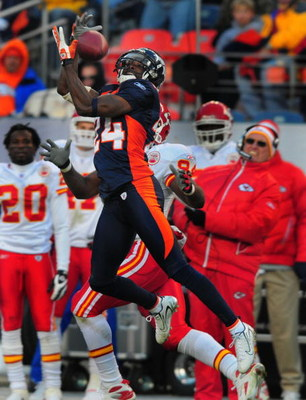 DENVER - DECEMBER 9:  Champ Bailey #24 of the Denver Broncos intercepts a pass thrown by Brodie Croyle of the Kansas City Chiefs in the third quarter of the game at Invesco Field at Mile High December 9, 2007 in Denver, Colorado.  (Photo by Steve Dykes/Ge
