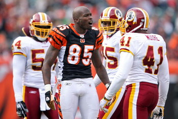 CINCINNATI - DECEMBER 14: Chad Johnson #85 of the Cincinnati Bengals has a few words with Kareem Moore #41 of the Washington Redskins during the NFL game  on December 14, 2008 at Paul Brown Stadium in Cincinnati, Ohio. The Bengals won 20-13.  (Photo by An