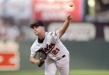 4 Oct 1997: Pitcher Jimmy Key of the Baltimore Orioles throws the ball during a game against the Seattle Mariners at Camden Yards in Baltimore, Maryland. The Mariners won the game, 4-2.