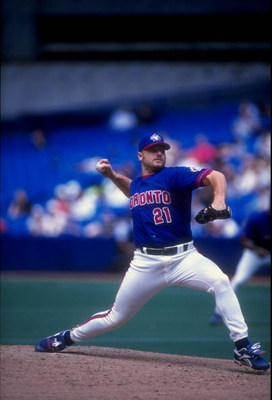 5 Jul 1998:  Pitcher Roger Clemens #21 of the Toronto Blue Jays in action during a game against the Tampa Bay Devil Rays at the Sky Dome in Toronto, Canada.  The Blue Jays defeated the Devil Rays 2-1. Mandatory Credit: Rick Stewart  /Allsport