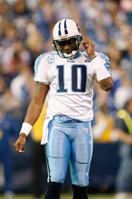 INDIANAPOLIS - DECEMBER 28:  Quarterback Vince Young #10 of the Tennessee Titans walk off the field during the game against the Indianapolis Colts on December 28, 2008 at Lucas Oil Stadium in Indianapolis, Indiana. (Photo by: Jamie Squire/Getty Images)