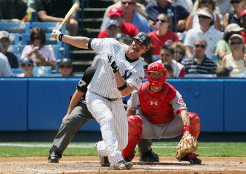 NEW YORK - JUNE 21: Jason Giambi #25 of the New York Yankees bats against the Cincinnati Reds on June 21, 2008 at Yankee Stadium in the Bronx borough of New York City. The Reds won the game 6-0.(Photo by Jim McIsaac/Getty Images)