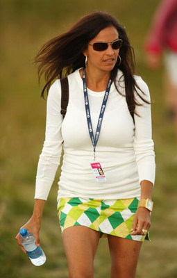 TURNBERRY, SCOTLAND - JULY 16:  Anna Cladakis, a companion of John Daly watches the play during round one of the 138th Open Championship on the Ailsa Course, Turnberry Golf Club on July 16, 2009 in Turnberry, Scotland.  (Photo by Richard Heathcote/Getty I