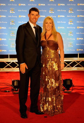LOUISVILLE, KY - SEPTEMBER 17:  Padraig Harrington of Ireland and the European Ryder Cup team poses with his wife Caroline on the red carpet before the Ryder Cup Gala dinner prior to the start of the 2008 Ryder Cup September 17, 2008 in Louisville, Kentuc