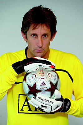 UNDATED - UNSPECIFIED:  In this handout image provided by adidas, Edwin van der Sar of Manchester United holds the adidas 'Finale Rome' official match ball prior to the UEFA Champions League Final between Barcelona and Manchester United scheduled for May