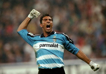 19 Sep 1999: Parma's Gianluigi Buffon celebrates during the Serie A match between Inter Milan and Parma played at the San Siro in Milan, Italy. Inter won the match 5-1. \ Mandatory Credit: Claudio Villa /Allsport