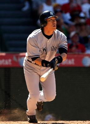 ANAHEIM, CA - JULY 11:  Hideki Matsui #55 of the New York Yankees hits a home run against the Los Angeles Angels of Anaheim in the eighth inning on July 11, 2009 at Angel Stadium in Anaheim, California.  The Angels won 12-8.  (Photo by Stephen Dunn/Getty 