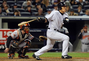 NEW YORK - MAY 19:  Hideki Matsui #55 of the New York Yankees bats in the sixth inning against the Baltimore Orioles at Yankee Stadium May 19, 2009 in the Bronx borough of New York City.  (Photo by Jim McIsaac/Getty Images)