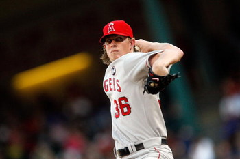 ARLINGTON, TX - JULY 01:  Pitcher Jered Weaver #36 of the Los Angeles Angels of Anaheim throws against the Texas Rangers on July 1, 2009 at Rangers Ballpark in Arlington, Texas.  (Photo by Ronald Martinez/Getty Images)