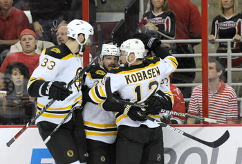 RALEIGH, NC - MAY 12:  Boston Bruins players Zdeno Chara #33 and Chuck Kobasew #12 celebrate after a goal by teammate Mark Recchi #28 in the first period against the Carolina Hurricanes during Game Six of the Eastern Conference Semifinal Round of the 2009