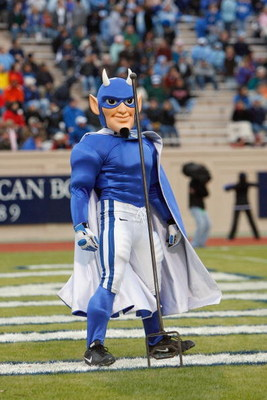 DURHAM, NC - NOVEMBER 29:  The mascot of the Duke Blue Devils throws his pitchfork into the endzone during the game against the North Carolina Tar Heels at Wallace Wade Stadium on November 29, 2008 in Durham, North Carolina. (Photo by Kevin C. Cox/Getty I