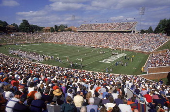 CHARLOTTESVILLE, VA - SEPTEMBER 30:  General view of the field during the ACC football game between the Wake Forest Demon Deacons and the Virginia Cavaliers at Scott Stadium in Charlottesville, Virginia on September 30, 1995.  The Cavaliers defeated the D