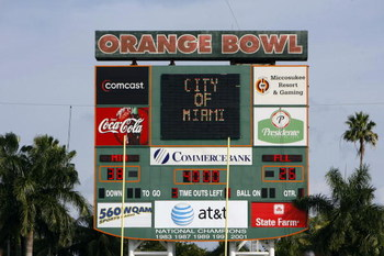 MIAMI, FL - JANUARY 26: The scoreboard while Miami Dolphins play the Miami Hurricanes at the Orange Bowl January 26, 2008 in Miami, Florida. This is the last game to be played in the Orange Bowl. (Photo by Eliot J. Schechter/Getty Images)