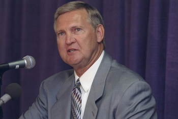 19 Apr 1998:  Los Angeles Lakers general manager Jerry West speaks during a press conference at the Great Western Forum in Inglewood, California. Mandatory Credit: Todd Warshaw  /Allsport