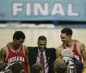 ATLANTA, GA - MARCH 30:  Head coach Mike Davis of Indiana University Hoosiers stands with two of his players Jeff Newton #50 (left) and Jared Jeffries #1 after the semifinal round of the NCAA Men's Final Four game against the Oklahoma University Sooners a