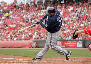 CINCINNATI - JULY 19:  Prince Fielder #28 of the Milwaukee Brewers hits a double during the game against the Cincinnati Reds at Great American Ball Park on July 19, 2009 in Cincinnati, Ohio.  (Photo by Andy Lyons/Getty Images)