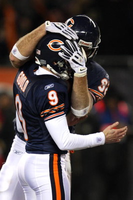CHICAGO - DECEMBER 11:  Robbie Gould #9 and Scott Olsen #82 of the Chicago Bears celebrate after Gould's game-winning 35-yard field goal attempt went through the upright in overtime against the New Orleans Saints at Soldier Field on December 11, 2008 in C