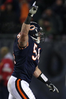 CHICAGO - DECEMBER 11:  Brian Urlacher #54 of the Chicago Bears celebrates after the Bears defense stopped the New Orleans Saints on a fourth down play in the fourth quarter at Soldier Field on December 11, 2008 in Chicago, Illinois.  (Photo by Jonathan D