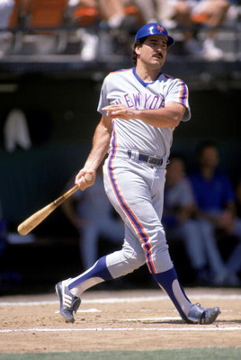 1988:  Keith Hernandez of the New York Mets follows his swing during a game in the 1988 season. ( Photo by: Stephen Dunn/Getty Images)