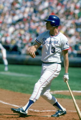 1985:  Dale Murphy #3 of the Atlanta Braves watches the flight of the ball during a game in1985. Dale Murphy played for the Atlanta Braves from 1976-1990. (Photo by Scott Cunningham/Getty Images)