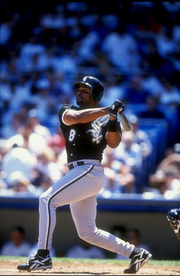26 Jul 1998:  Albert Belle #8 of the Chicago White Sox  swings during the game against the New York Yankees at Yankee Stadium in the Bronx,  New York. The Yankees defeated the White Sox 6-3. Mandatory Credit: David Seelig  /Allsport