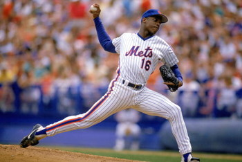 1988: Dwight Gooden of the New York Mets pitches during a game in the 1988 season. ( Photo by: Mike Powell/Getty Images)
