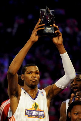 PHOENIX - FEBRUARY 13:  Kevin Durant #35 of the Sophomore team holds up the MVP trophy after the Sophomores won the T-Mobile Rookie Challenge & Youth Jam part of 2009 NBA All-Star Weekend at US Airways Center on February 13, 2009 in Phoenix, Arizona.  NOT