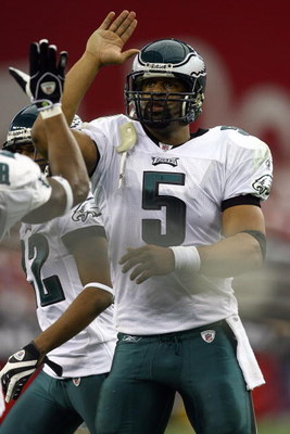 GLENDALE, AZ - JANUARY 18:  Quarterback Donovan McNabb #5 of the Philadelphia Eagles reacts during the NFC championship game against the Arizona Cardinals on January 18, 2009 at University of Phoenix Stadium in Glendale, Arizona.  (Photo by Jamie Squire/G