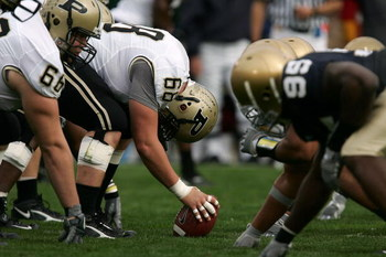 SOUTH BEND, IN - SEPTEMBER 30:  Center Robbie Powell #68 of the Purdue Boilermakers readies to snap the ball against the Notre Dame Fighting Irish September 30, 2006 at Notre Dame Stadium in South Bend, Indiana. Notre Dame won 35-21. (Photo by Jonathan Da