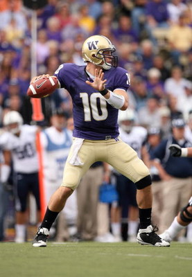 SEATTLE - SEPTEMBER 6:  Jake Locker #10 of the Washington Huskies passes the ball during their game against the BYU Cougars on September 6, 2008 at Husky Stadium in Seattle, Washington. The Cougars defeated the Huskies 28-27. (Photo by Otto Greule Jr/Gett