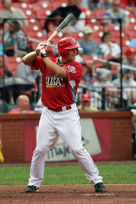 ST. LOUIS, MO - JULY 12:  U.S. Futures All-Star Chris Heisey of the Cincinnati Reds bats during the 2009 XM All-Star Futures Game at Busch Stadium on July 12, 2009 in St. Louis, Missouri. (Photo by Elsa/Getty Images)