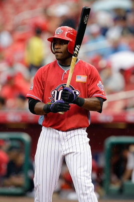 ST. LOUIS, MO - JULY 12: U.S. Futures All-Star Eric Young of the Colorado Rockies steps to the plate during the 2009 XM All-Star Futures Game at Busch Stadium on July 12, 2009 in St. Louis, Missouri. (Photo by Jamie Squire/Getty Images)