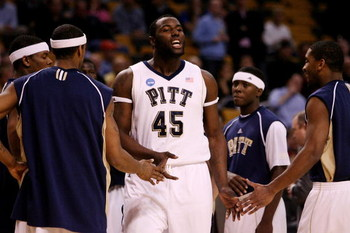 BOSTON - MARCH 26:  DeJuan Blair #45 of the Pittsburgh Panthers takes the floor before taking on the Xavier Musketeers during the NCAA Men's Basketball Tournament East Regionals at TD Banknorth Garden on March 26, 2009 in Boston, Massachusetts.  (Photo by