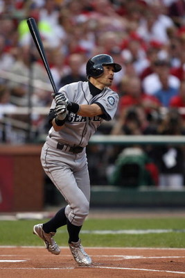 ST. LOUIS, MO - JULY 14:  American League All-Star Ichiro Suzuki of the Seattle Mariners bats during the 2009 MLB All-Star Game at Busch Stadium on July 14, 2009 in St Louis, Missouri. (Photo by Dilip Vishwanat/Getty Images)