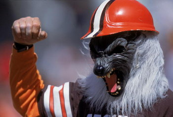 17 Sep 2000: A fan of the Cleveland Browns wears a werewolf mask as he cheers in the stands during the game against the Pittsburgh Steelers at the Cleveland Stadium in Cleveland, Ohio.  The Browns defeated the Steelers 23-20.Mandatory Credit: Harry How  /
