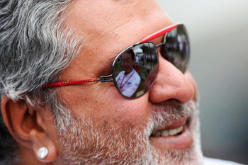 MELBOURNE, AUSTRALIA - MARCH 14:  Force India Chairman Vijay Mallya is seen in the paddock following practice for the Australian Formula One Grand Prix at the Albert Park Circuit on March 14, 2008 in Melbourne, Australia.  (Photo by Clive Mason/Getty Imag