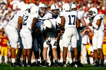 PASADENA, CA - JANUARY 01:  Quarterback Daryll Clark #17 of the Penn State Nittany Lions huddles with the offense in the first half against the USC Trojans during the 95th Rose Bowl Game presented by Citi on January 1, 2009 at the Rose Bowl in Pasadena, C