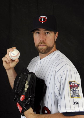 FORT MYERS, FL - FEBRUARY 23: R.A. Dickey #39 of the Minnesota Twins poses during photo day at the Twins spring training complex on February 23, 2008 in Fort Myers, Florida. (Photo by Rob Tringali/Getty Images)