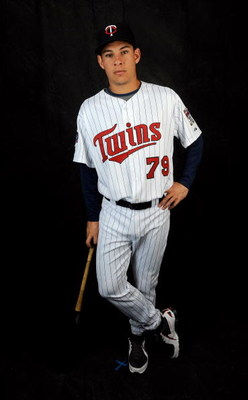 FORT MYERS, FL - FEBRUARY 23: Danny Valencia #79 of the Minnesota Twins poses during photo day at the Twins spring training complex on February 23, 2008 in Fort Myers, Florida. (Photo by Rob Tringali/Getty Images)