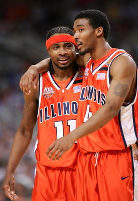 ST. LOUIS - APRIL 02:  Teammates Dee Brown #11 and Luther Head #4 of the Illinois Fighting Illini celebrate at a time-out against the Louisville Cardinals in the second half during the NCAA Men's Final Four at the Edward Jones Dome on April 2, 2005 in St.