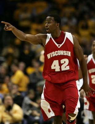 MILWAUKEE - DECEMBER 09:  Alando Tucker #42 of the Wisconsin Badgers celebrates in the final minute of Wisconsin's 70-66 win against the Marquette Golden Eagles December 9, 2006 at the Bradley Center in Milwaukee, Wisconsin.  (Photo by Jonathan Daniel/Get
