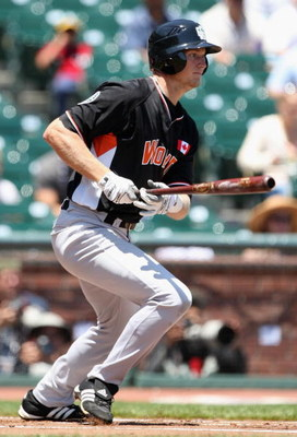 SAN FRANCISCO - JULY 08:  World Team All-Star Michael Saunders of the Seattle Mariners bats against the USA Team during the XM Satellite Radio All-Star Futures Game at AT&T Park on July 8, 2007 in San Francisco, California.  (Photo by Jed Jacobsohn/Getty