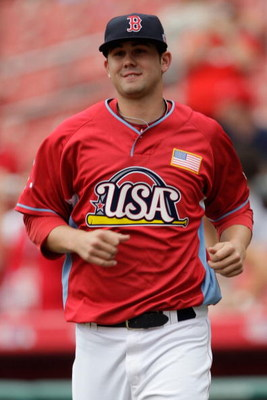 ST LOUIS, MO - JULY 12:  U.S. Futures All-Star Casey Kelly of the Boston Red Sox takes the field during the 2009 XM All-Star Futures Game at Busch Stadium on July 12, 2009 the in St. Louis, Missouri.  (Photo by Jamie Squire/Getty Images)