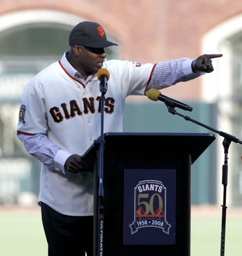 SAN FRANCISCO - AUGUST 9: Barry Bonds points toward the Dodger dugout during a San Francisco Giants 50th Anniversary celebration before the game between the Los Angeles Dodgers and San Francisco Giants at AT&T Park on August 9, 2008 in San Francisco, Cali