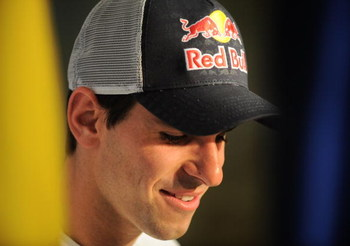 MADRID, SPAIN - JULY 21:  Jaime Alguersuari smiles during his presentation as the new Toro Rosso F1 driver at a news conference on July 21, 2009 in Madrid, Spain. The Spaniard, 19, who takes the place of Sebastien Bourdais, will become the youngest driver