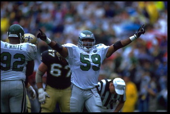 6 SEP 1992:  PHILADELPHIA EAGLES LINEBACKER SETH JOYNER #59 CELEBRATES DURING THE EAGLES 15-13 WIN OVER THE NEW ORLEANS SAINTS AT VETERANS STADIUM IN PHILADELPHIA, PENNSYLVANIA.  MANDATORY CREDIT:  JEFF HIXON/ALLSPORT