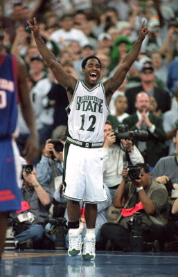 3 Apr 2000: Mateen Cleaves #12 of the Michigan State Spartans celebrates on the floor during the NCAA Men''s Finals Four Game against the Florida Gators at the RCA Dome  in Indianapolis, Indiana. The Spartans defeated the Gators 89-76. Mandatory Credit: J